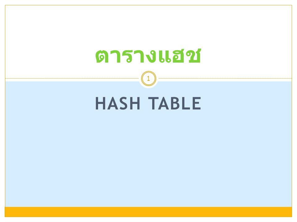HASH TABLE 1 ตารางแฮช