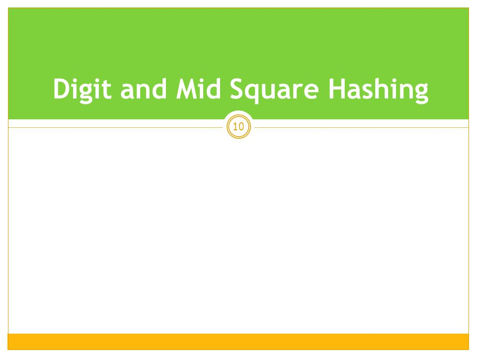 10 Digit and Mid Square Hashing