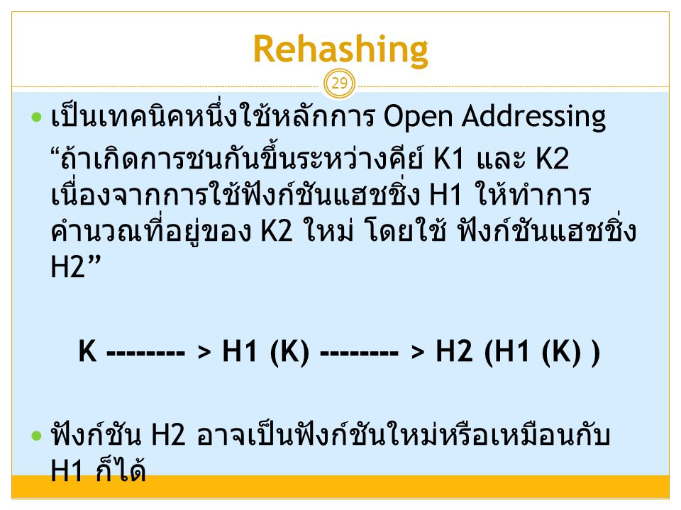 "Rehashing 29  เป็นเทคนิคหนึ่งใช้หลักการ Open Addressing "" ถ้าเกิดการชนกันขึ้นระหว่างคีย์ K1 และ K2 เนื่องจากการใช้ฟังก์ชันแฮชชิ่ง H1 ให้ทำการ คำนวณที"