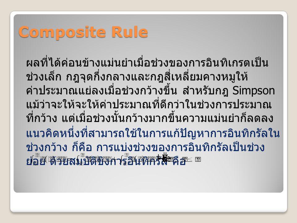 Composite Rule ผลที่ได้ค่อนข้างแม่นยำเมื่อช่วงของการอินทิเกรตเป็น ช่วงเล็ก กฎจุดกึ่งกลางและกฎสี่เหลี่ยมคางหมูให้ ค่าประมาณแย่ลงเมื่อช่วงกว้างขึ้น สำหร