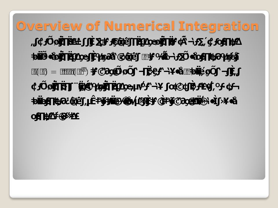 Overview of Numerical Integration