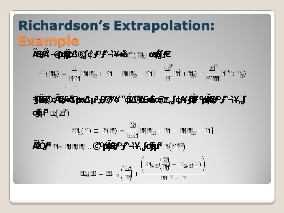 Richardson's Extrapolation: Example