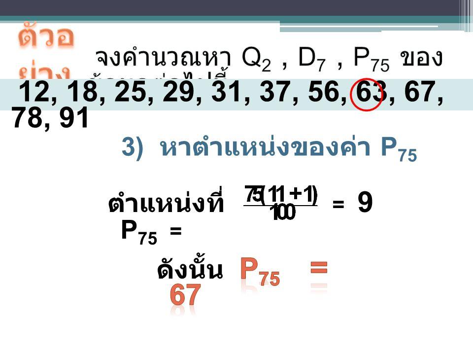 ตำแหน่งที่ P 75 = 12, 18, 25, 29, 31, 37, 56, 63, 67, 78, 91 3) หาตำแหน่งของค่า P 75 = 9