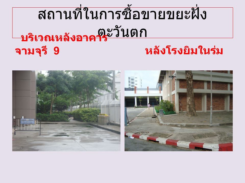 สถานที่ในการซื้อขายขยะฝั่ง ตะวันตก บริเวณหลังอาคาร จามจุรี 9 หลังโรงยิมในร่ม