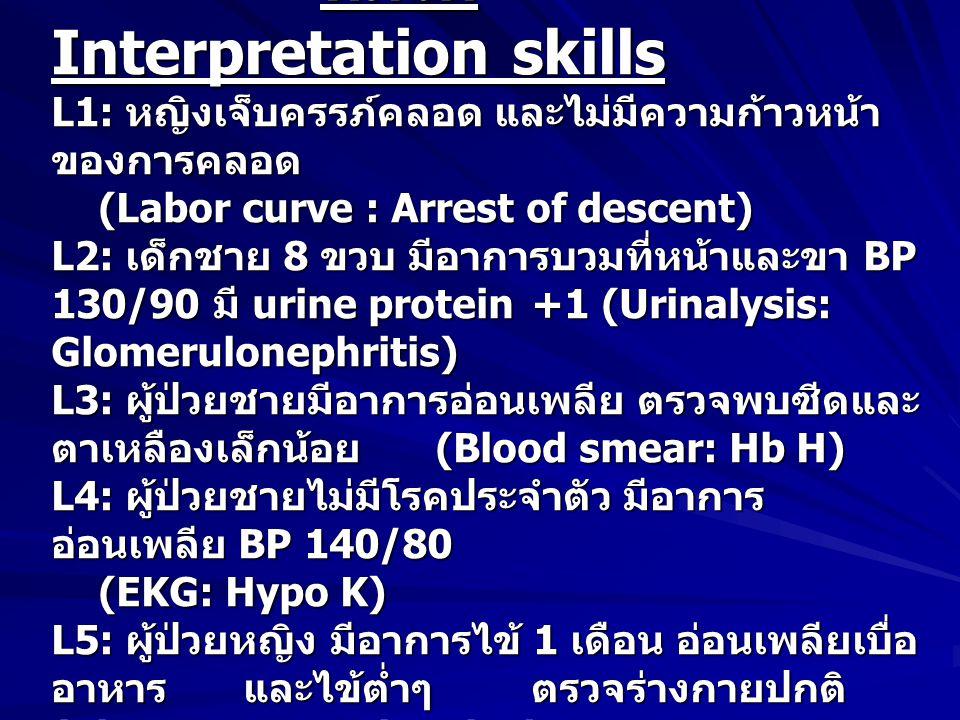 หมวด Interpretation skills L1: หญิงเจ็บครรภ์คลอด และไม่มีความก้าวหน้า ของการคลอด (Labor curve : Arrest of descent) L2: เด็กชาย 8 ขวบ มีอาการบวมที่หน้าและขา BP 130/90 มี urine protein +1 (Urinalysis: Glomerulonephritis) L3: ผู้ป่วยชายมีอาการอ่อนเพลีย ตรวจพบซีดและ ตาเหลืองเล็กน้อย (Blood smear: Hb H) L4: ผู้ป่วยชายไม่มีโรคประจำตัว มีอาการ อ่อนเพลีย BP 140/80 (EKG: Hypo K) L5: ผู้ป่วยหญิง มีอาการไข้ 1 เดือน อ่อนเพลียเบื่อ อาหาร และไข้ต่ำๆ ตรวจร่างกายปกติ (Chest x-ray: Pulm Tbc.) หมวด Interpretation skills L1: หญิงเจ็บครรภ์คลอด และไม่มีความก้าวหน้า ของการคลอด (Labor curve : Arrest of descent) L2: เด็กชาย 8 ขวบ มีอาการบวมที่หน้าและขา BP 130/90 มี urine protein +1 (Urinalysis: Glomerulonephritis) L3: ผู้ป่วยชายมีอาการอ่อนเพลีย ตรวจพบซีดและ ตาเหลืองเล็กน้อย (Blood smear: Hb H) L4: ผู้ป่วยชายไม่มีโรคประจำตัว มีอาการ อ่อนเพลีย BP 140/80 (EKG: Hypo K) L5: ผู้ป่วยหญิง มีอาการไข้ 1 เดือน อ่อนเพลียเบื่อ อาหาร และไข้ต่ำๆ ตรวจร่างกายปกติ (Chest x-ray: Pulm Tbc.)