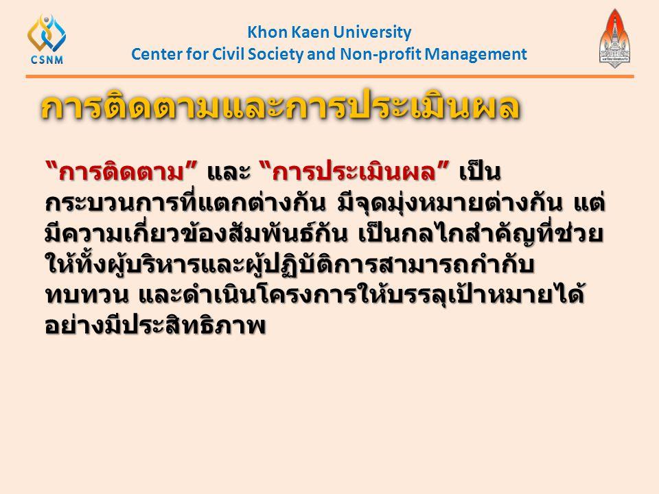 "Khon Kaen University Center for Civil Society and Non-profit Management ""การติดตาม"" และ ""การประเมินผล"" เป็น กระบวนการที่แตกต่างกัน มีจุดมุ่งหมายต่างกั"