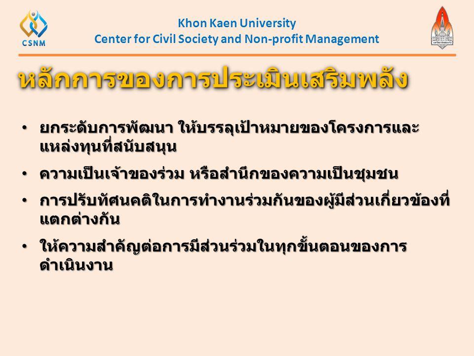 Khon Kaen University Center for Civil Society and Non-profit Management • ยกระดับการพัฒนา ให้บรรลุเป้าหมายของโครงการและ แหล่งทุนที่สนับสนุน • ความเป็น
