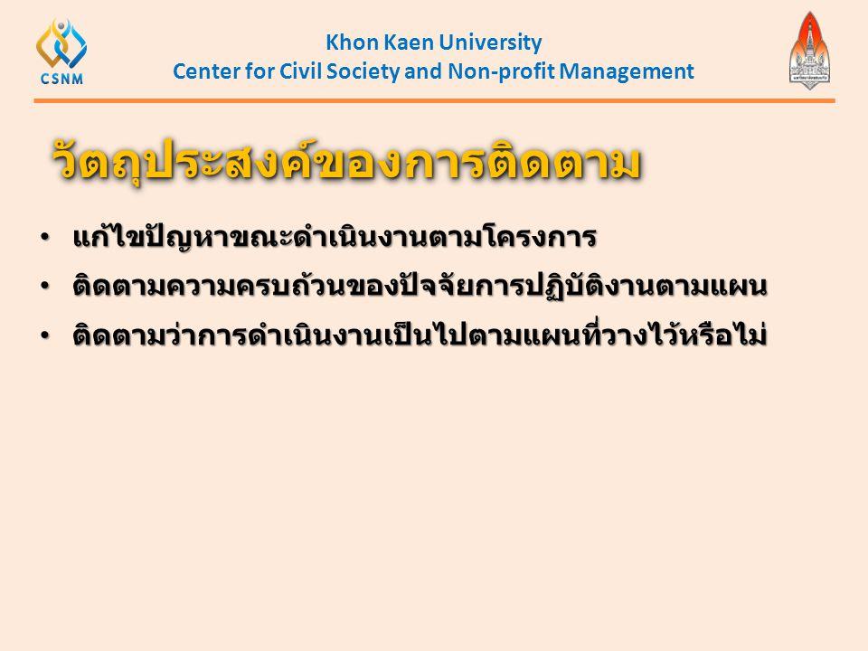 Khon Kaen University Center for Civil Society and Non-profit Management วัตถุประสงค์ของการติดตามวัตถุประสงค์ของการติดตาม • แก้ไขปัญหาขณะดำเนินงานตามโค