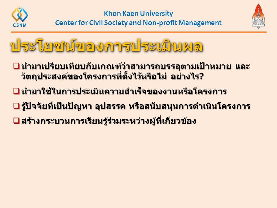 Khon Kaen University Center for Civil Society and Non-profit Management  นำมาเปรียบเทียบกับเกณฑ์ว่าสามารถบรรลุตามเป้าหมาย และ วัตถุประสงค์ของโครงการท