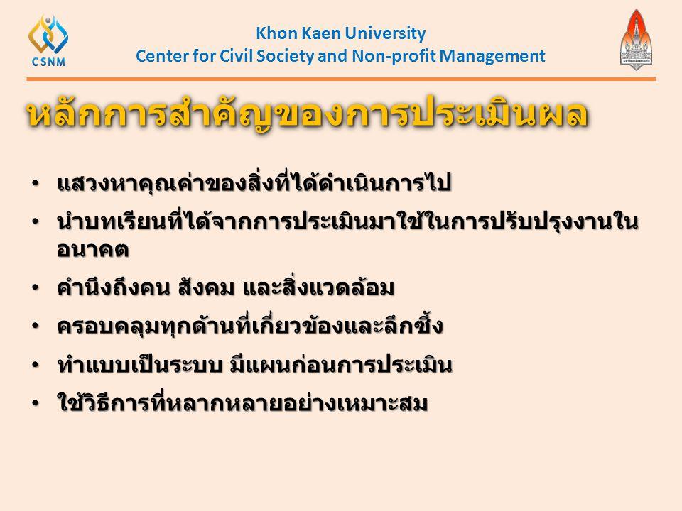 Khon Kaen University Center for Civil Society and Non-profit Management • แสวงหาคุณค่าของสิ่งที่ได้ดำเนินการไป • นำบทเรียนที่ได้จากการประเมินมาใช้ในกา