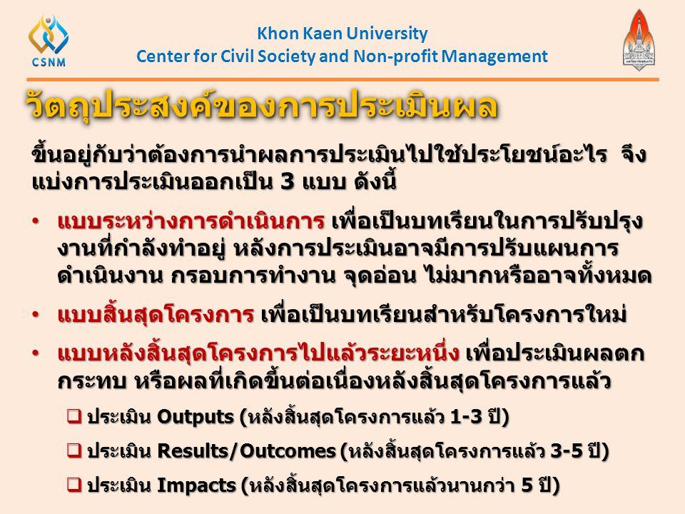 Khon Kaen University Center for Civil Society and Non-profit Management ขึ้นอยู่กับว่าต้องการนำผลการประเมินไปใช้ประโยชน์อะไร จึง แบ่งการประเมินออกเป็น