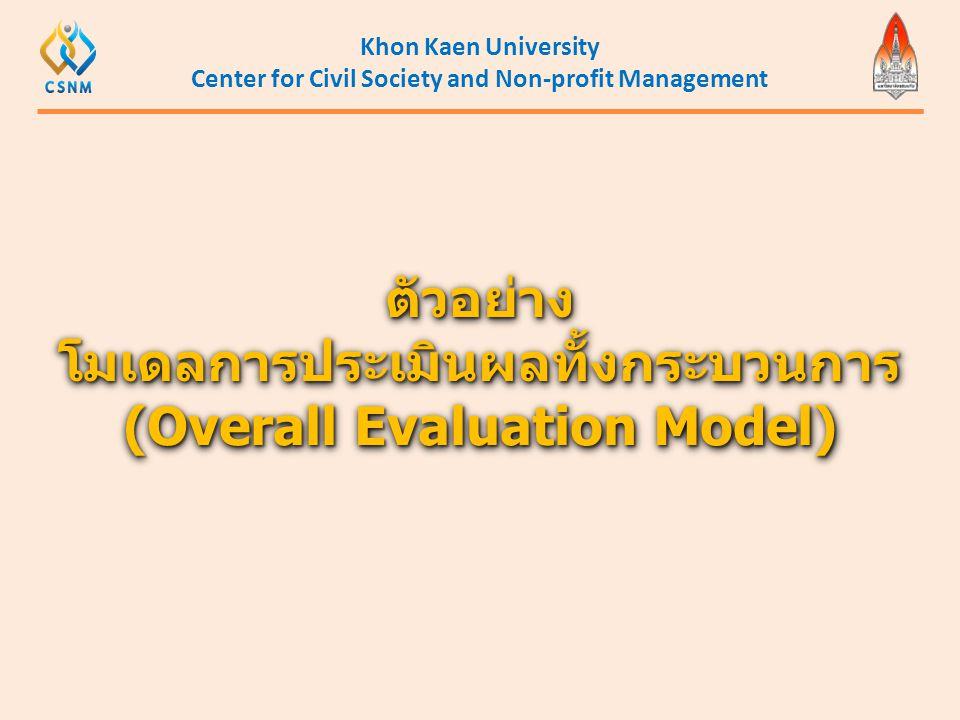 Khon Kaen University Center for Civil Society and Non-profit Management ตัวอย่าง โมเดลการประเมินผลทั้งกระบวนการ (Overall Evaluation Model) ตัวอย่าง