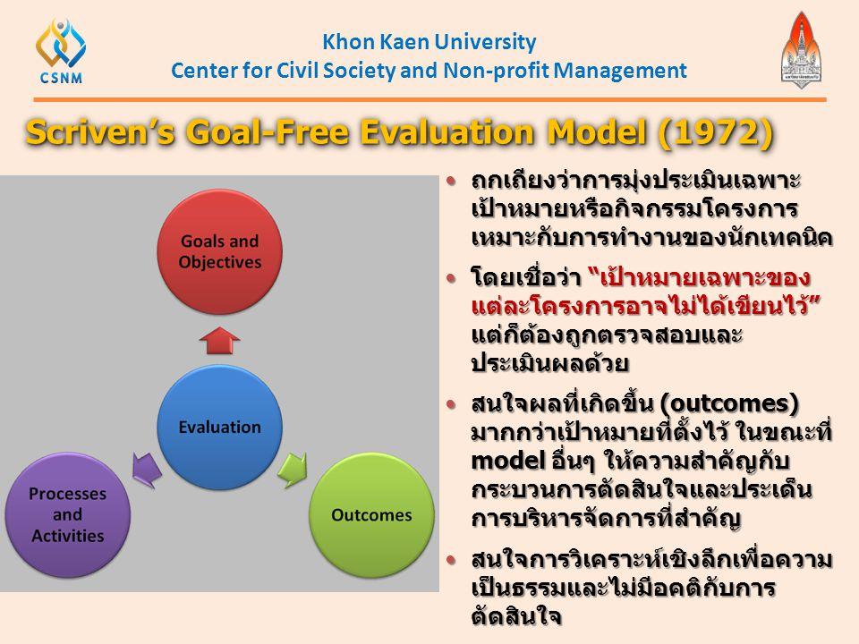 Khon Kaen University Center for Civil Society and Non-profit Management Scriven's Goal-Free Evaluation Model (1972)  ถกเถียงว่าการมุ่งประเมินเฉพาะ เป