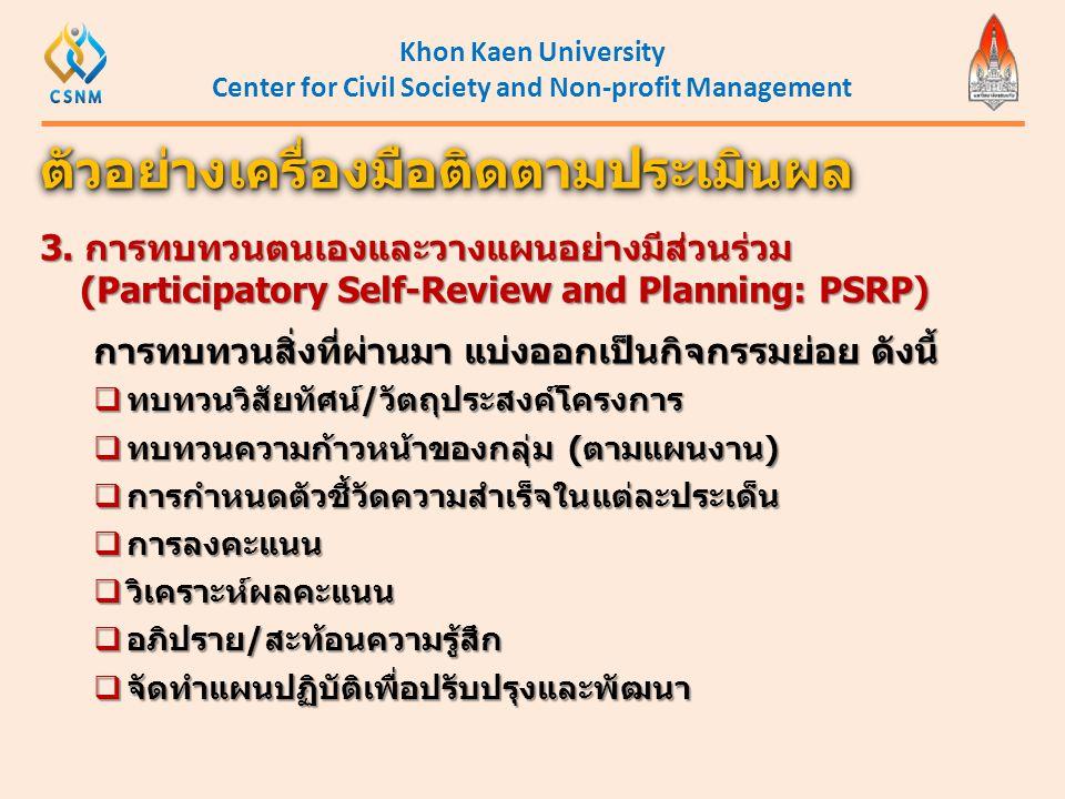 Khon Kaen University Center for Civil Society and Non-profit Management ตัวอย่างเครื่องมือติดตามประเมินผลตัวอย่างเครื่องมือติดตามประเมินผล 3. การทบทวน