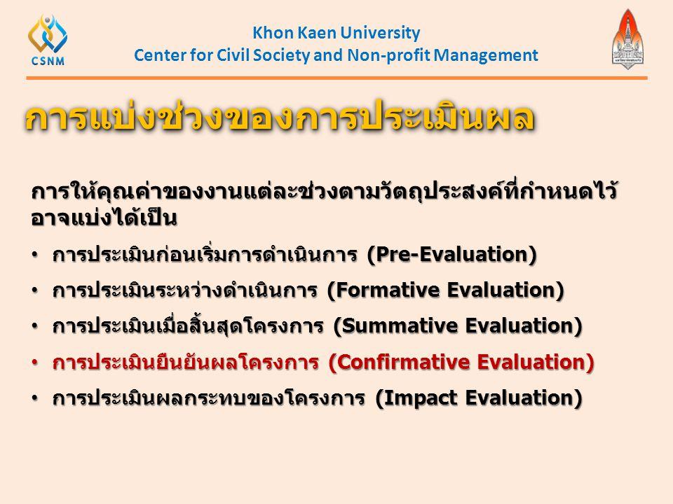 Khon Kaen University Center for Civil Society and Non-profit Management การให้คุณค่าของงานแต่ละช่วงตามวัตถุประสงค์ที่กำหนดไว้ อาจแบ่งได้เป็น • การประเ