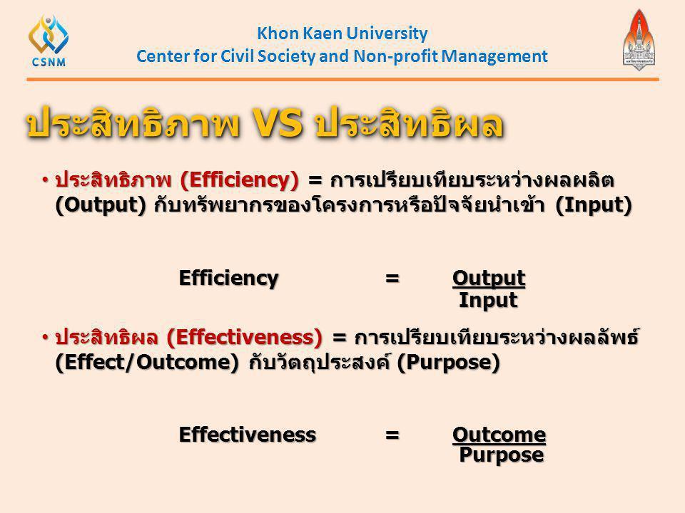 Khon Kaen University Center for Civil Society and Non-profit Management • ประสิทธิภาพ (Efficiency) = การเปรียบเทียบระหว่างผลผลิต (Output) กับทรัพยากรข