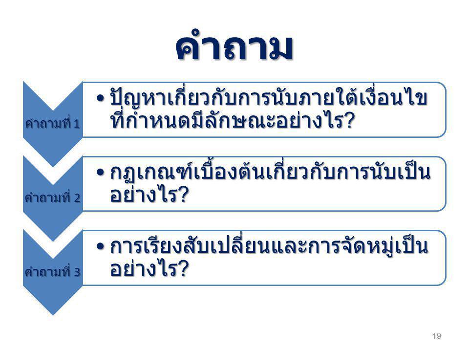 คำถาม คำถามที่ 1 • ปัญหาเกี่ยวกับการนับภายใต้เงื่อนไข ที่กำหนดมีลักษณะอย่างไร .