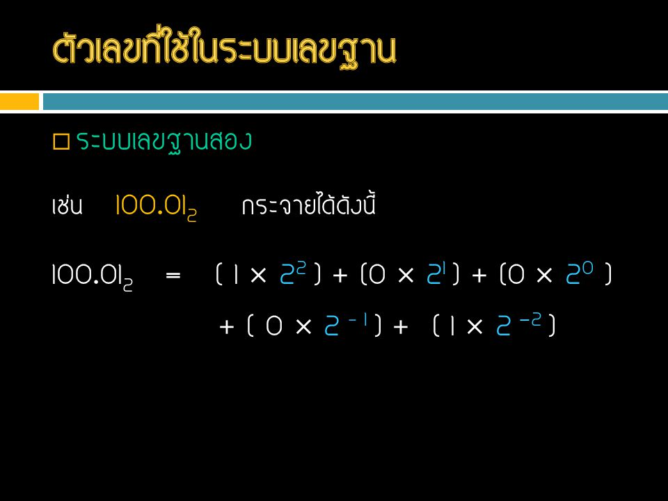  ระบบเลขฐานสอง เช่น 100.01 2 กระจายได้ดังนี้ 100.01 2 = ( 1  2 2 ) + (0  2 1 ) + (0  2 0 ) + ( 0  2 – 1 ) + ( 1  2 -2 )