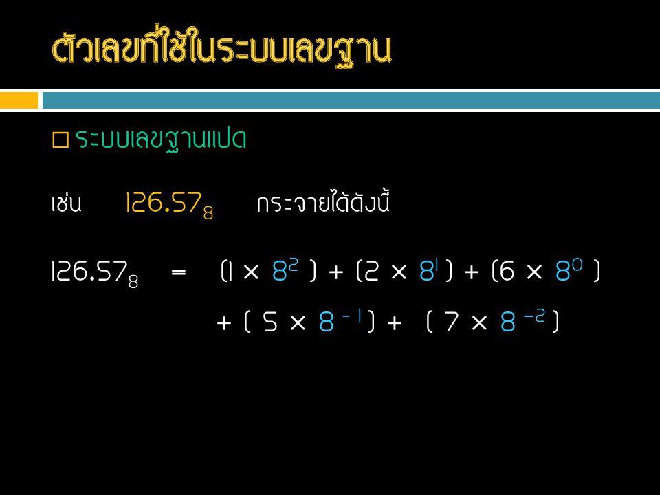  ระบบเลขฐานแปด เช่น 126.57 8 กระจายได้ดังนี้ 126.57 8 = (1  8 2 ) + (2  8 1 ) + (6  8 0 ) + ( 5  8 – 1 ) + ( 7  8 -2 )