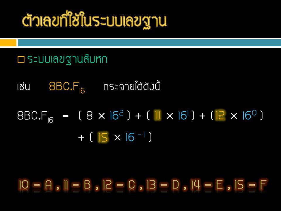  ระบบเลขฐานสิบหก เช่น 8BC.F 16 กระจายได้ดังนี้ 8BC.F 16 = ( 8  16 2 ) + ( B  16 1 ) + ( C  16 0 ) + ( F  16 – 1 )