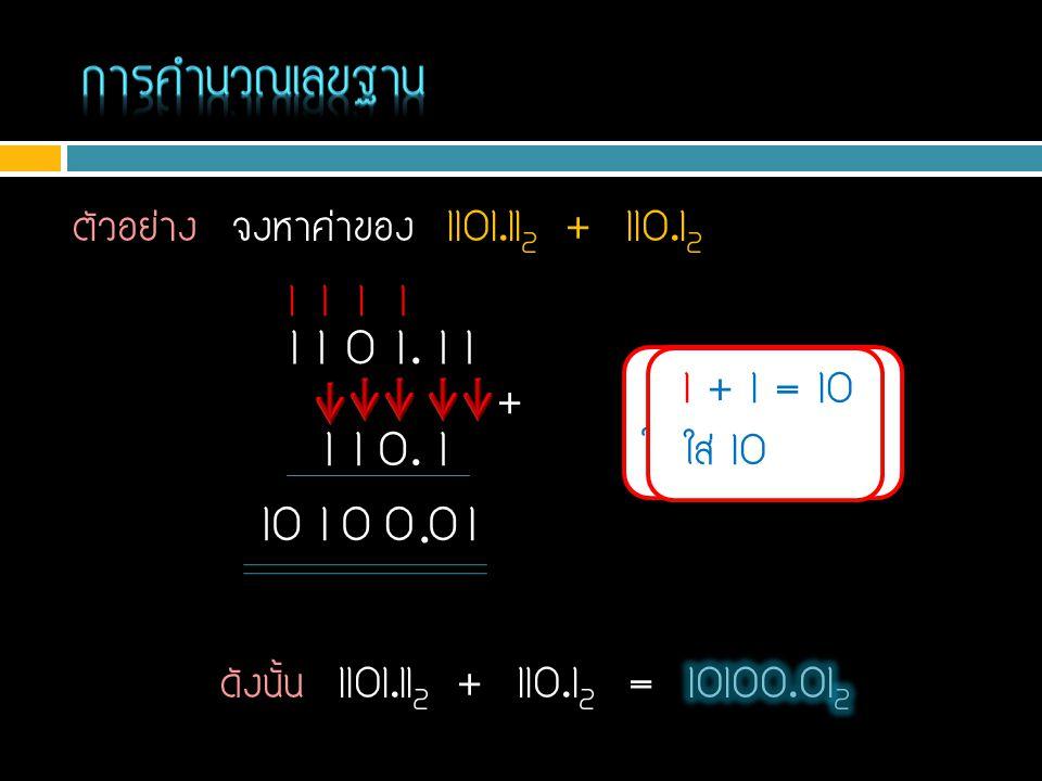 ตัวอย่าง จงหาค่าของ 1101.11 2 + 110.1 2 1 + 0 = 1 1 1 0 1. 1 1 1 1 0. 1 + 1 1 1 + 1 = 10 ใส่ 0 ทด 1 10. 1 + 1 = 10 ใส่ 0 ทด 1 1 0010 11 1 + 1 = 10 ใส่