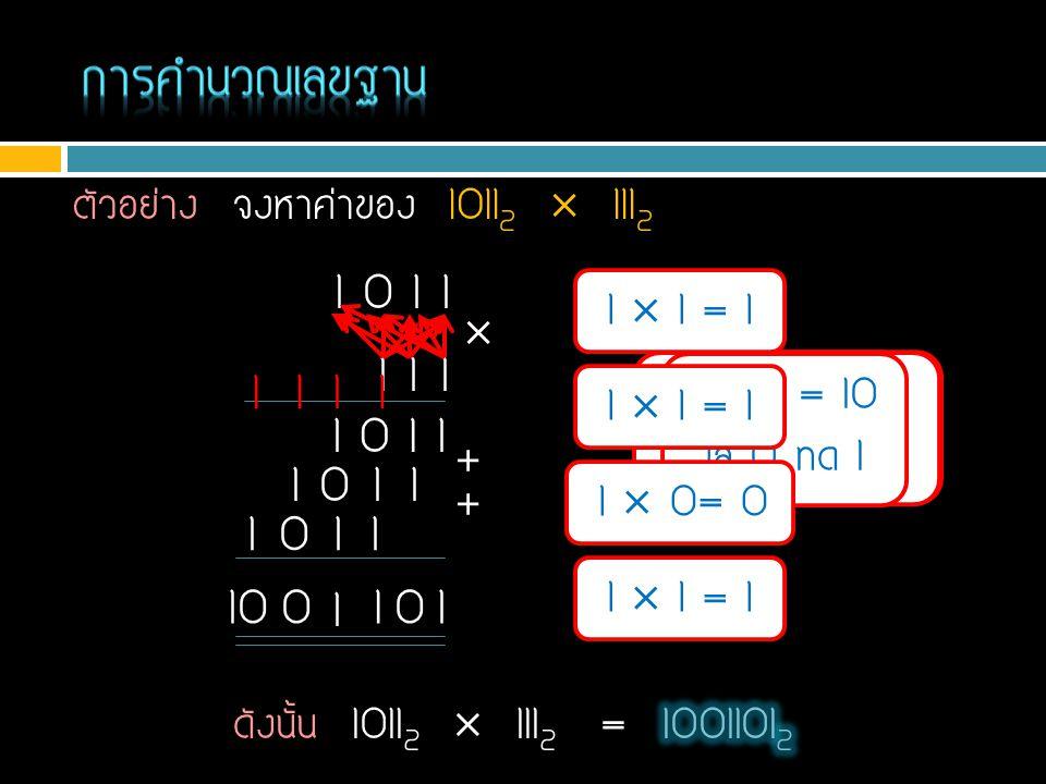 1 + 1 = 10 ใส่ 10 1 + 1 = 10 ใส่ 0 ทด 1 1+1+0+1 = 11 ใส่ 1 ทด 1 ตัวอย่าง จงหาค่าของ 1011 2  111 2 1  1 = 1 1 0 1 1 1 1 1  1+0+1+1 = 11 ใส่ 1 ทด 1 1