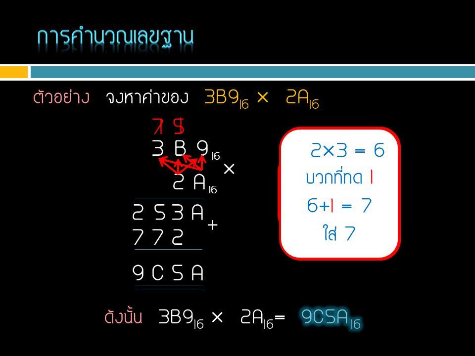 ตัวอย่าง จงหาค่าของ 3B9 16  2A 16 A  9 = 5A ใส่ A ทด 5 3 B 9 16 2 A 16  A3 A  B = 6E บวกที่ทด 5 6E+5 = 73 ใส่ 3 ทด 7 2  9 = 12 ใส่ 2 ทด 1 2  B =