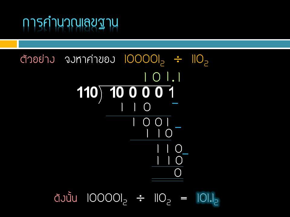 ตัวอย่าง จงหาค่าของ 100001 2  110 2 1 1 1 01 1 0 - 1 00 0 1 1 1 0 - 1 1 10.1 1 1 01 1 0 0 -