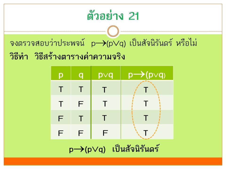 p(pq)p(pq) pq TT TF FT FF p  (p  q) เป็นสัจนิรันดร์ pqpq T T T F T T T T
