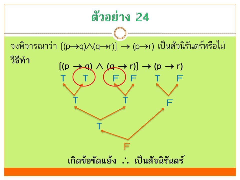 [(p  q)  (q  r)]  (p  r) T FF T T T T F T F เกิดข้อขัดแย้ง  เป็นสัจนิรันดร์