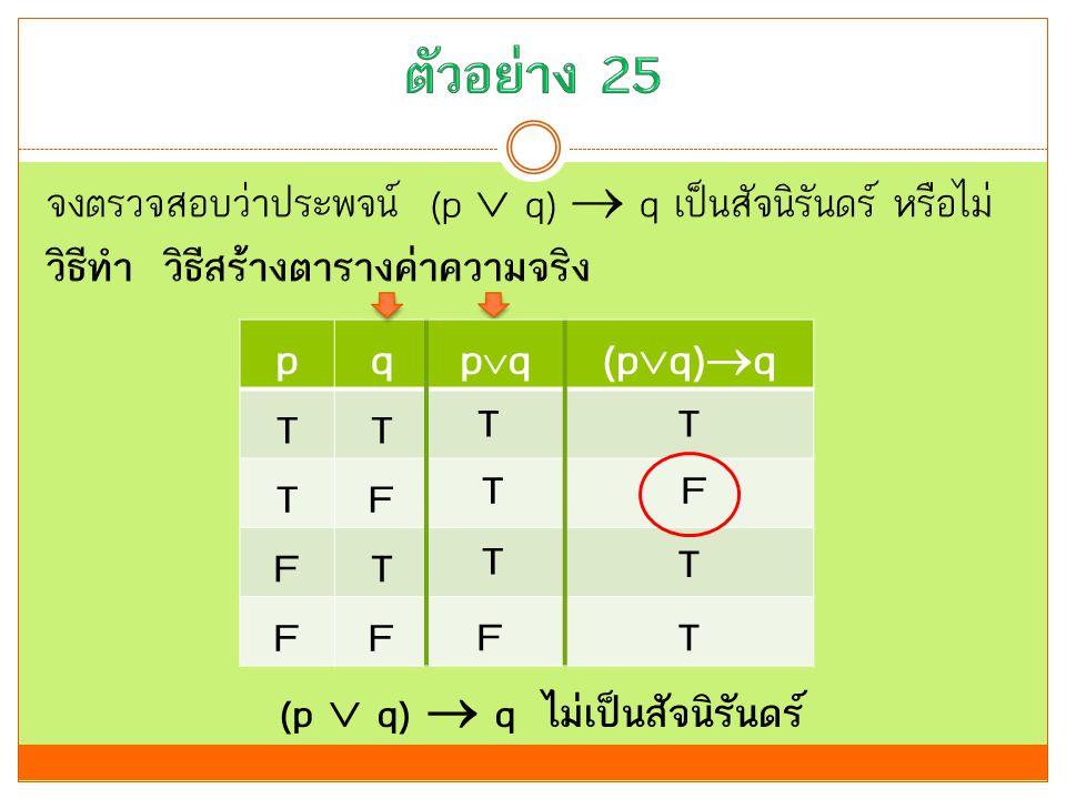 pq TT TF FT FF (p  q)  q ไม่เป็นสัจนิรันดร์ pqpq(p  q)  q T T T F T F T T