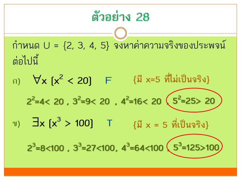 {มี x=5 ที่ไม่เป็นจริง} {มี x = 5 ที่เป็นจริง} 2 2 =4< 20, 3 2 =9< 20, 4 2 =16< 20, 5 2 =25> 20 2 3 =8<100, 3 3 =27<100, 4 3 =64<100, 5 3 =125>100