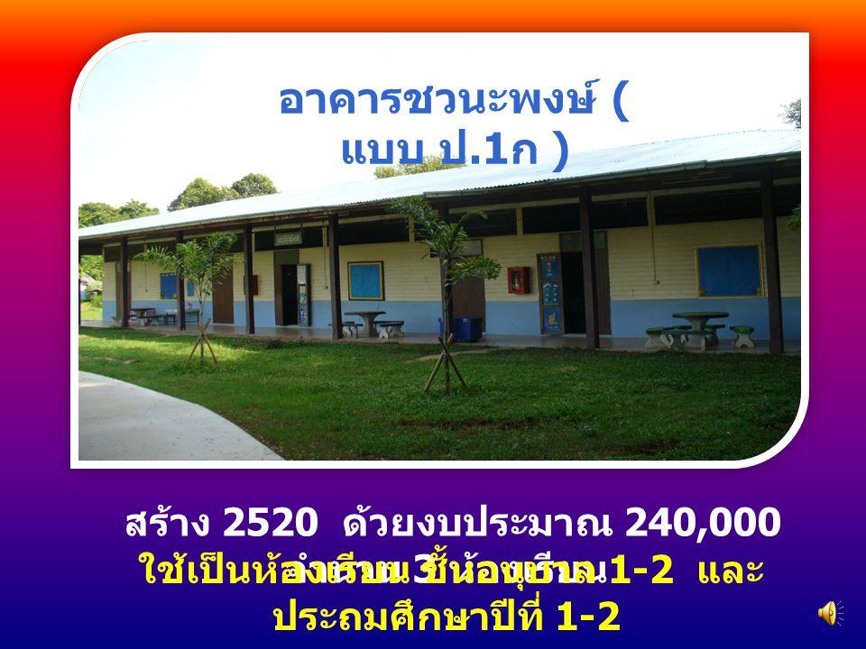สร้าง 2520 ด้วยงบประมาณ 240,000 จำนวน 3 ห้องเรียน ใช้เป็นห้องเรียน ชั้นอนุบาล 1-2 และ ประถมศึกษาปีที่ 1-2 อาคารชวนะพงษ์ ( แบบ ป.1 ก )