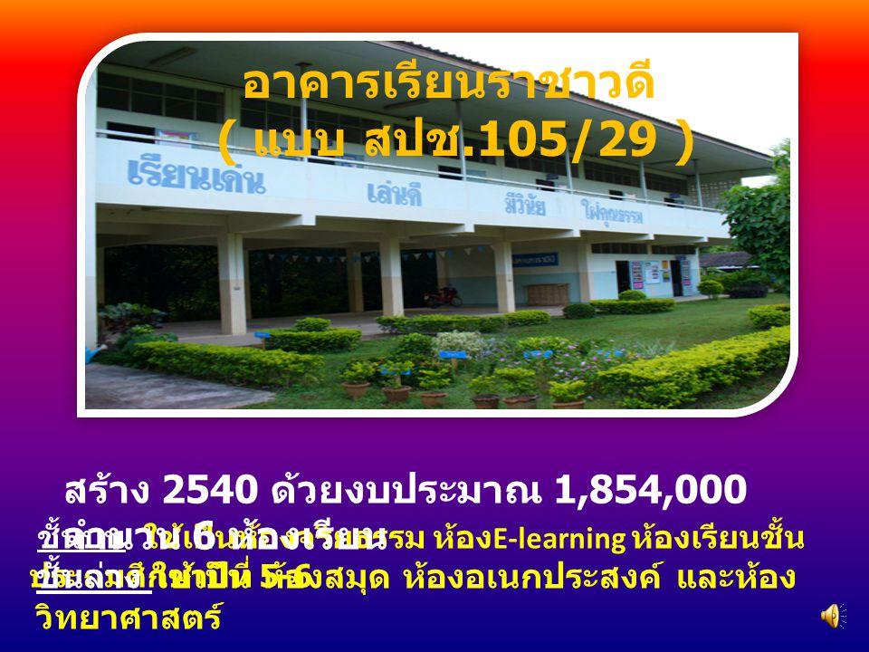 ชั้นบน ใช้เป็นห้องจริยธรรม ห้อง E-learning ห้องเรียนชั้น ประถมศึกษาปีที่ 5-6 ชั้นล่าง ใช้เป็น ห้องสมุด ห้องอเนกประสงค์ และห้อง วิทยาศาสตร์ สร้าง 2540 ด้วยงบประมาณ 1,854,000 จำนวน 6 ห้องเรียน อาคารเรียนราชาวดี ( แบบ สปช.105/29 )