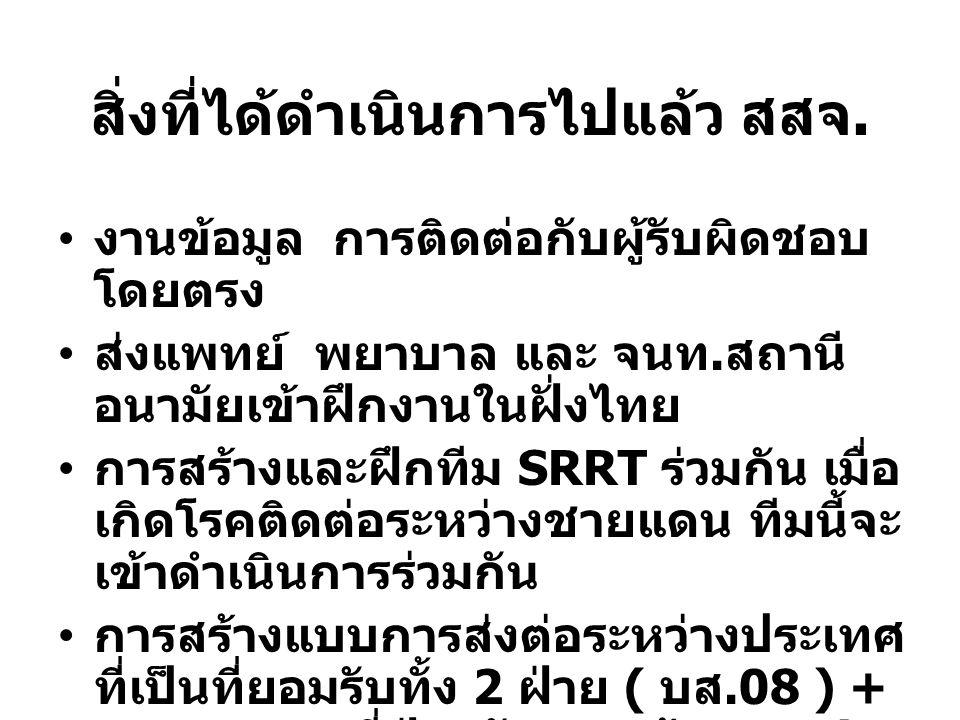 สิ่งที่ได้ดำเนินการไปแล้ว สสจ. งานข้อมูล การติดต่อกับผู้รับผิดชอบ โดยตรง ส่งแพทย์ พยาบาล และ จนท. สถานี อนามัยเข้าฝึกงานในฝั่งไทย การสร้างและฝึกทีม SR