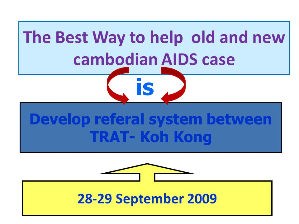 The Best Way to help old and new cambodian AIDS case Develop referal system between TRAT- Koh Kong is 28-29 September 2009