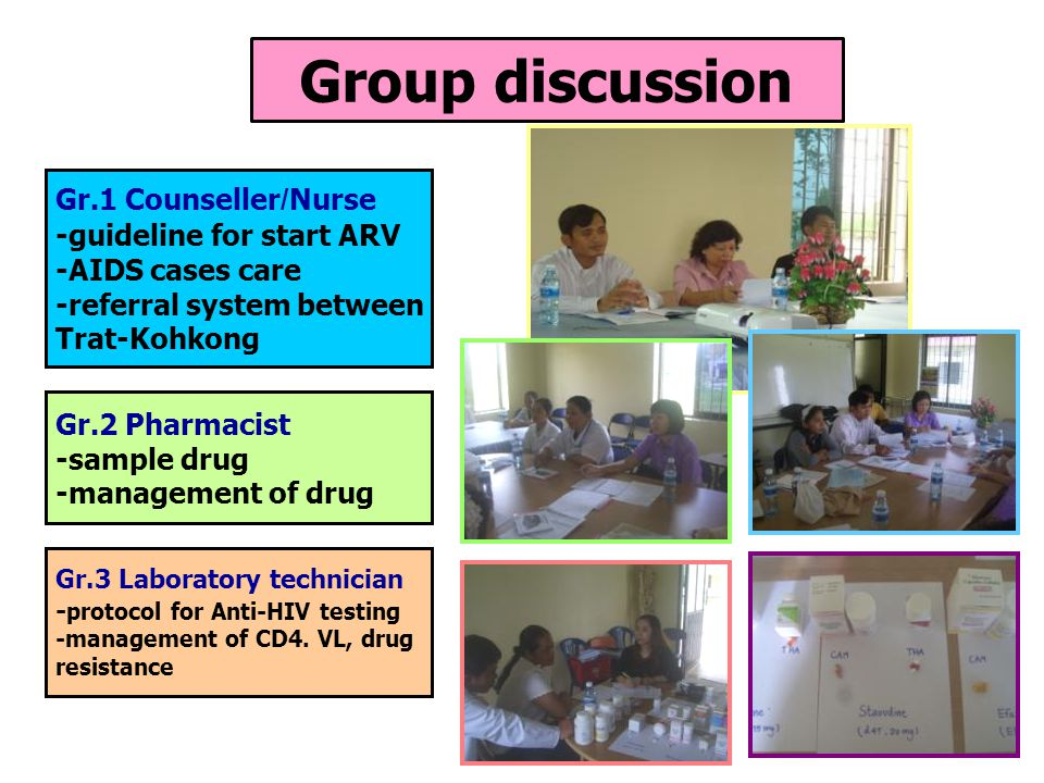 Group discussion Gr.1 Counseller/Nurse -guideline for start ARV -AIDS cases care -referral system between Trat-Kohkong Gr.2 Pharmacist -sample drug -m