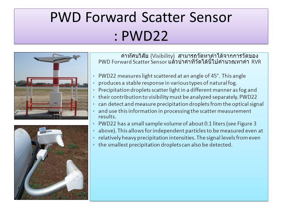 PWD Forward Scatter Sensor : PWD22 ค่าทัศนวิสัย (Visibility) สามารถวัดหาค่าได้จากการวัดของ PWD Forward Scatter Sensor แล้วนำค่าที่วัดได้นี้ไปคำนวณหาค่