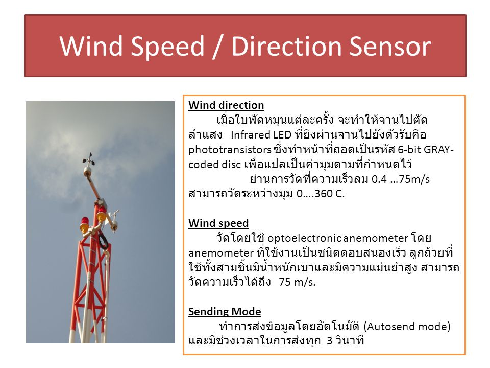 Wind Speed / Direction Sensor Wind direction เมื่อใบพัดหมุนแต่ละครั้ง จะทำให้จานไปตัด ลำแสง Infrared LED ที่ยิงผ่านจานไปยังตัวรับคือ phototransistors