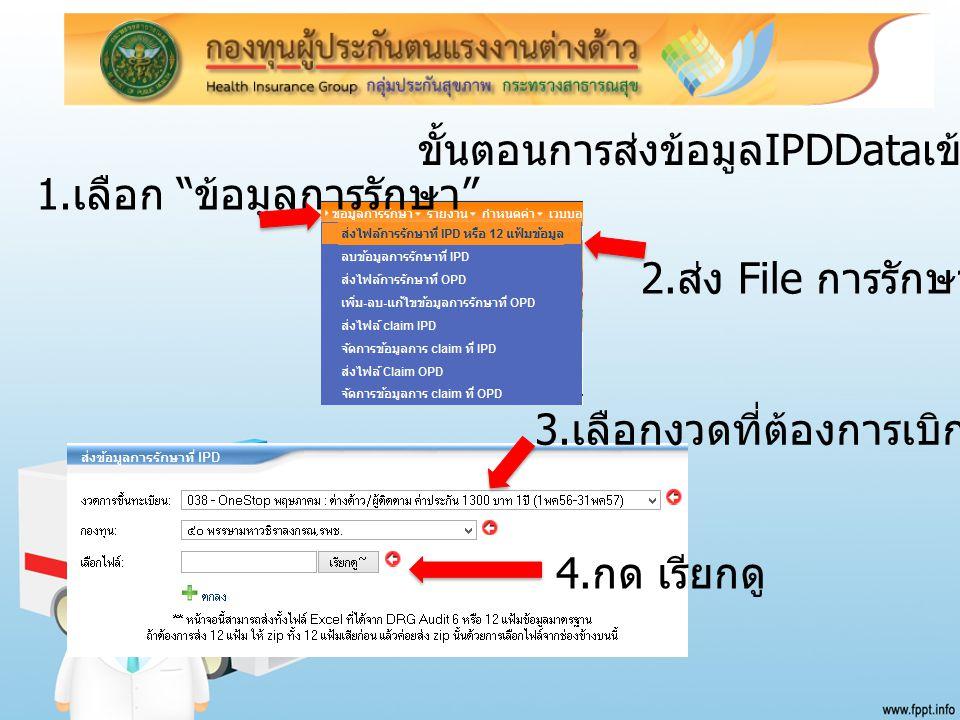"""1. เลือก """" ข้อมูลการรักษา """" 2. ส่ง File การรักษา 3. เลือกงวดที่ต้องการเบิกเคลม 4. กด เรียกดู ขั้นตอนการส่งข้อมูล IPDData เข้าระบบ"""