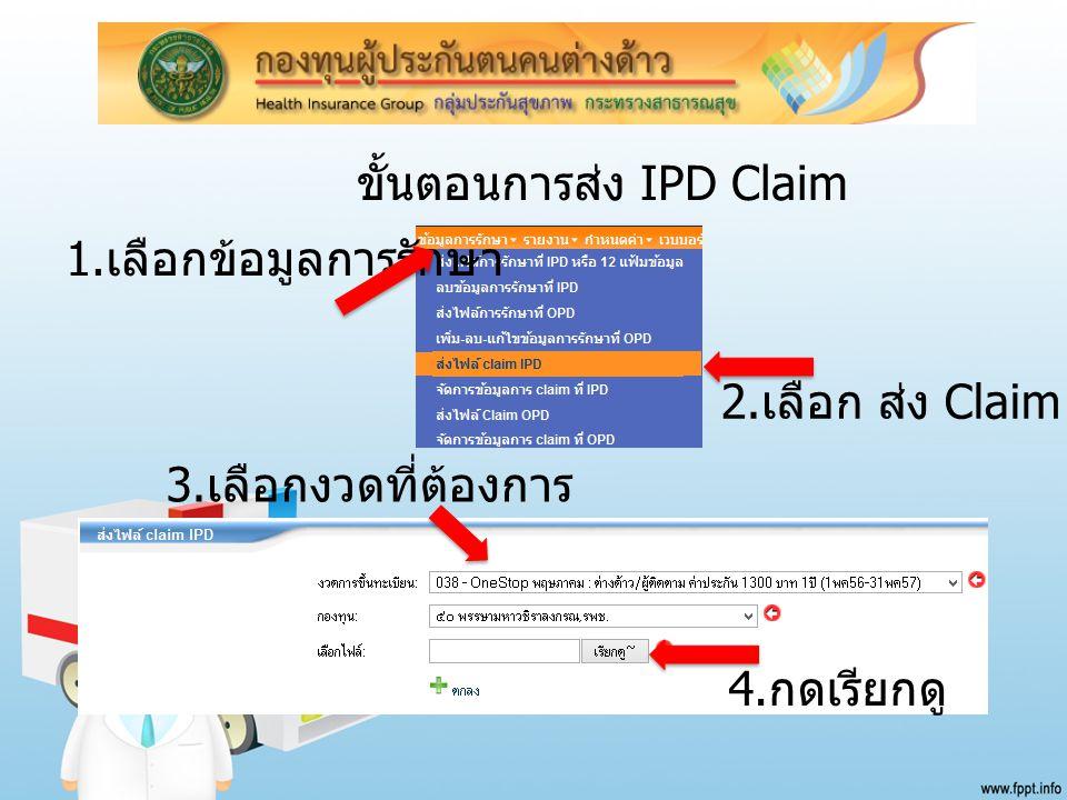 ขั้นตอนการส่ง IPD Claim 1. เลือกข้อมูลการรักษา 2. เลือก ส่ง Claim IPD 4. กดเรียกดู 3. เลือกงวดที่ต้องการ