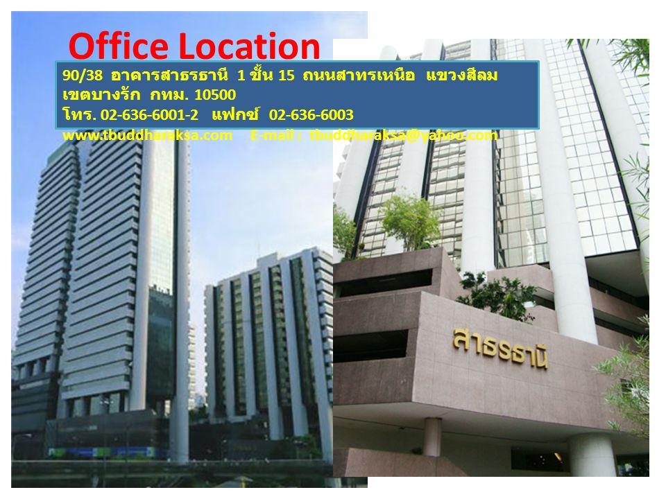 Office Location 90/38 อาคารสาธรธานี 1 ชั้น 15 ถนนสาทรเหนือ แขวงสีลม เขตบางรัก กทม. 10500 โทร. 02-636-6001-2 แฟกซ์ 02-636-6003 www.tbuddharaksa.com E-m