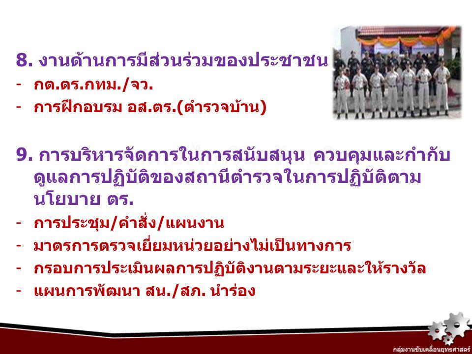 8. งานด้านการมีส่วนร่วมของประชาชน -กต.ตร.กทม./จว. -การฝึกอบรม อส.ตร.(ตำรวจบ้าน) 9. การบริหารจัดการในการสนับสนุน ควบคุมและกำกับ ดูแลการปฏิบัติของสถานีต
