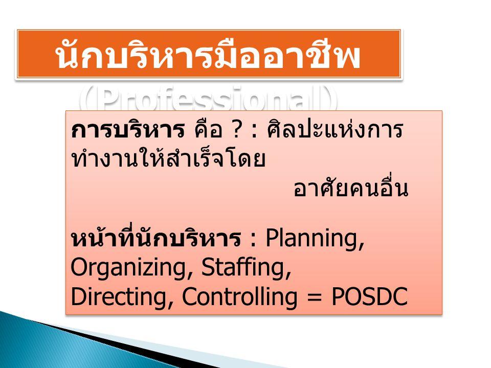 นักบริหารมืออาชีพ (Professional) การบริหาร คือ ? : ศิลปะแห่งการ ทำงานให้สำเร็จโดย อาศัยคนอื่น หน้าที่นักบริหาร : Planning, Organizing, Staffing, Direc