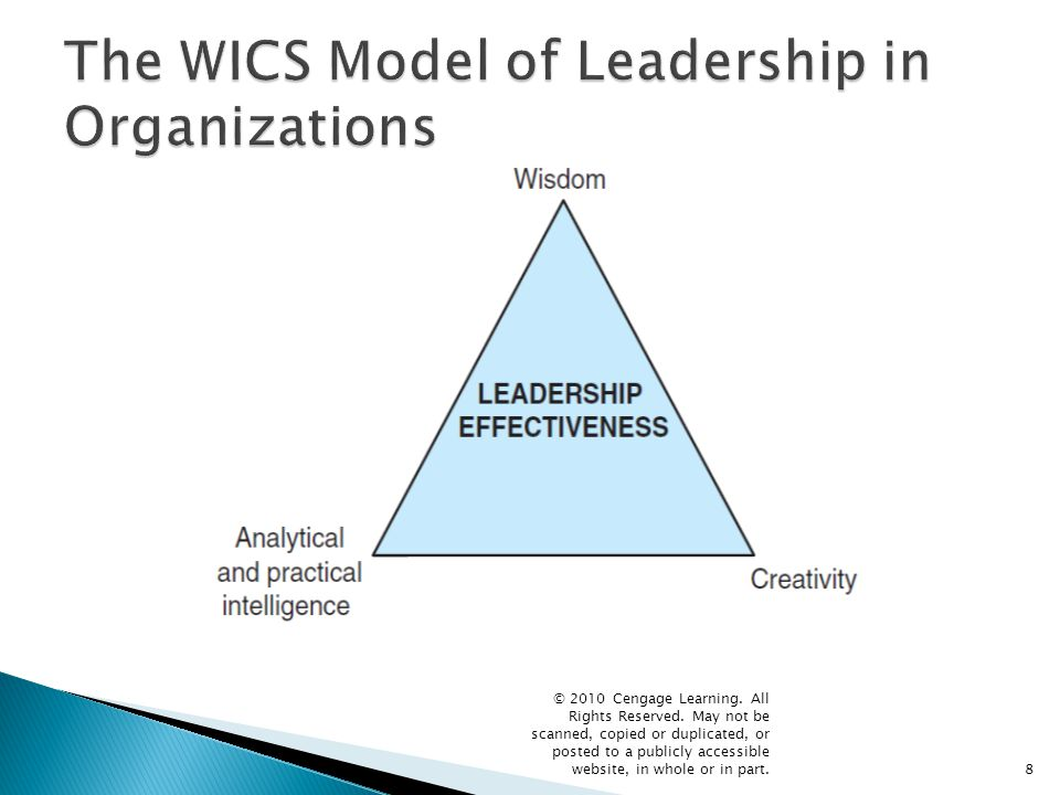  According to the WICS model, a leader needs the following for the successful utilization of intelligence: ◦ Creative skills to generate new ideas ◦ Analytical skills to evaluate whether the ideas are good ones ◦ Practical skills to implement the ideas and to persuade others of their value.