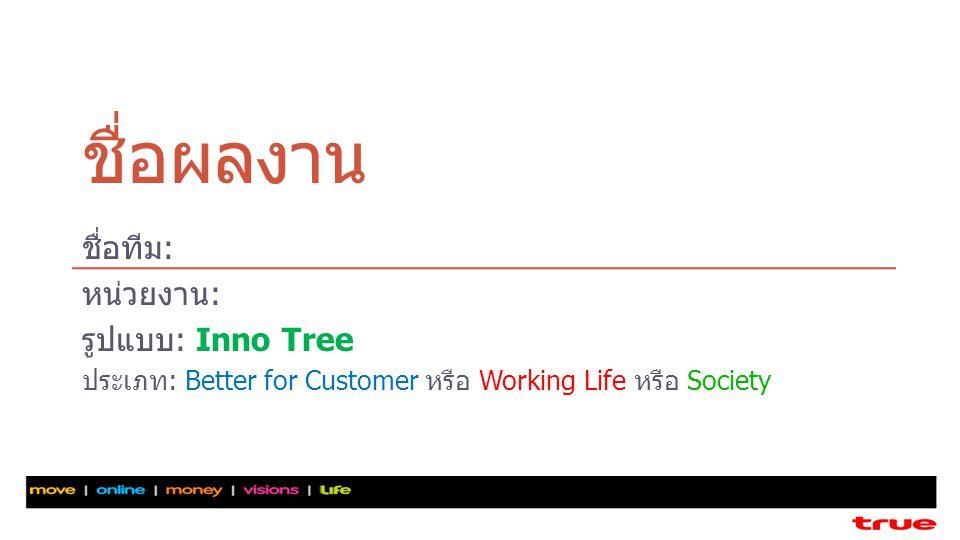 ชื่อผลงาน ชื่อทีม: หน่วยงาน: รูปแบบ: Inno Tree ประเภท: Better for Customer หรือ Working Life หรือ Society