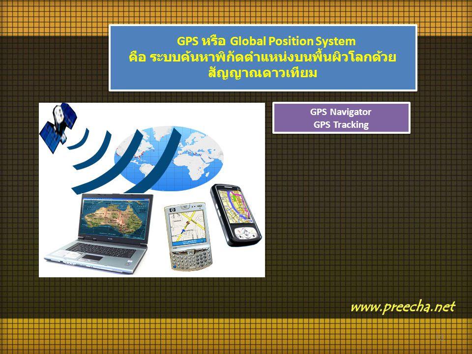 GPS Navigator GPS Tracking GPS Navigator GPS Tracking GPS หรือ Global Position System คือ ระบบค้นหาพิกัดตำแหน่งบนพื้นผิวโลกด้วย สัญญาณดาวเทียม GPS หรือ Global Position System คือ ระบบค้นหาพิกัดตำแหน่งบนพื้นผิวโลกด้วย สัญญาณดาวเทียม 13