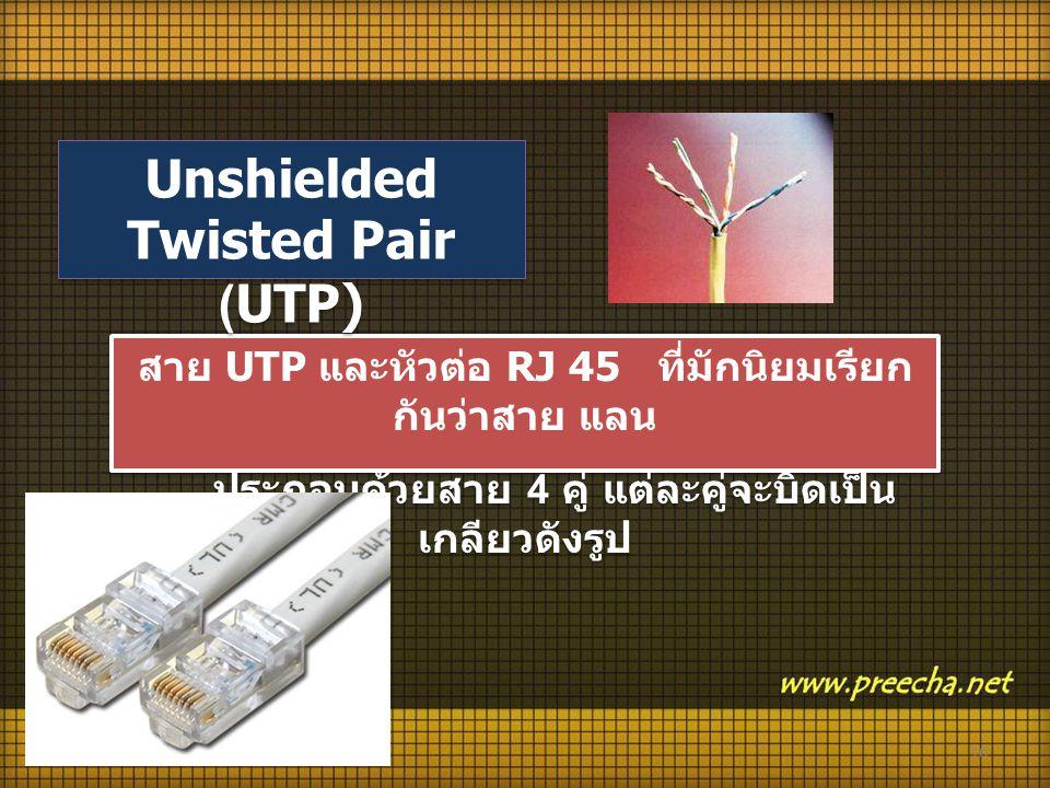 16 สาย UTP และหัวต่อ RJ 45 ที่มักนิยมเรียก กันว่าสาย แลน ประกอบด้วยสาย 4 คู่ แต่ละคู่จะบิดเป็น เกลียวดังรูป สาย UTP และหัวต่อ RJ 45 ที่มักนิยมเรียก กันว่าสาย แลน ประกอบด้วยสาย 4 คู่ แต่ละคู่จะบิดเป็น เกลียวดังรูป Unshielded Twisted Pair (UTP)