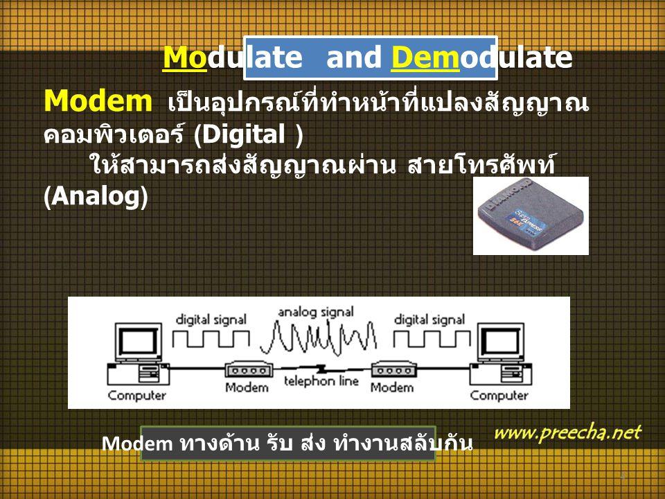 4 Modem เป็นอุปกรณ์ที่ทำหน้าที่แปลงสัญญาณ คอมพิวเตอร์ (Digital ) ให้สามารถส่งสัญญาณผ่าน สายโทรศัพท์ (Analog) Modem ทางด้าน รับ ส่ง ทำงานสลับกัน Modulate and Demodulate