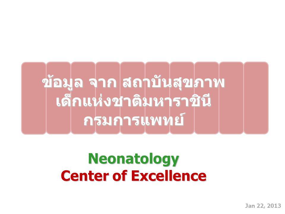 Jan 22, 2013 ข้อมูล จาก สถาบันสุขภาพ เด็กแห่งชาติมหาราชินี กรมการแพทย์Neonatology Center of Excellence